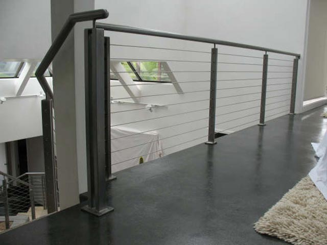 Sleek and Polished Indoor Cable Railing